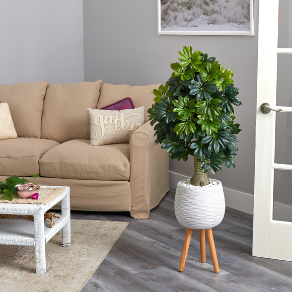 50 Schefflera Artificial Tree in White Planter with Stand Real Touch - SKU #T1373 - 3