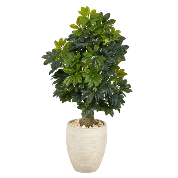 3.5 Schefflera Artificial Tree in Sand Colored Planter Real Touch - SKU #T1375