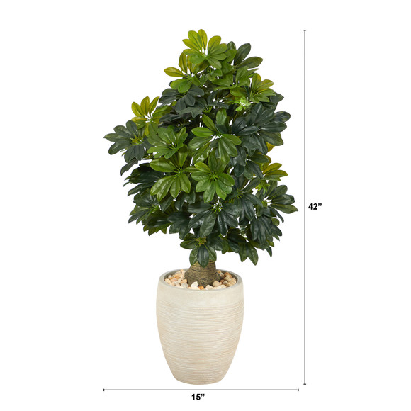 3.5 Schefflera Artificial Tree in Sand Colored Planter Real Touch - SKU #T1375 - 1