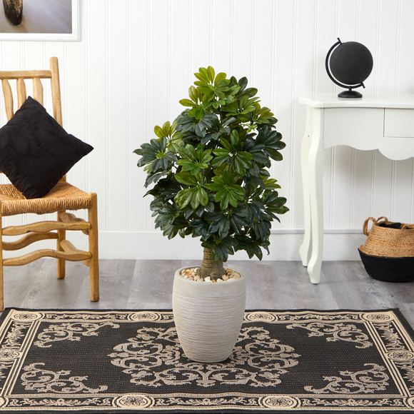 3.5 Schefflera Artificial Tree in Sand Colored Planter Real Touch - SKU #T1375 - 2