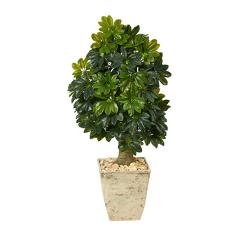3.5 Schefflera Artificial Tree in Country White Planter Real Touch - SKU #T1377