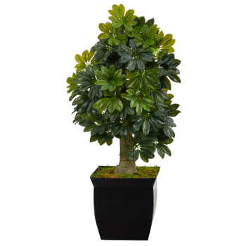 39 Schefflera Artificial Tree in Black Metal Planter Real Touch - SKU #T1378