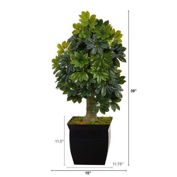 39 Schefflera Artificial Tree in Black Metal Planter Real Touch - SKU #T1378 - 1