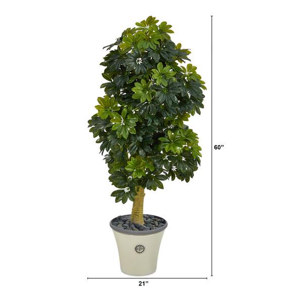 5 Schefflera Artificial Tree in Decorative Planter Real Touch - SKU #T1380 - 1