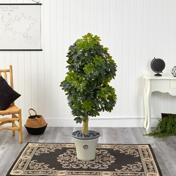5 Schefflera Artificial Tree in Decorative Planter Real Touch - SKU #T1380 - 2