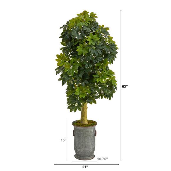 63 Schefflera Artificial Tree in Vintage Metal Planter Real Touch - SKU #T1384 - 1