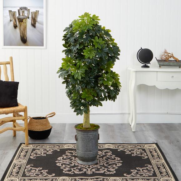 63 Schefflera Artificial Tree in Vintage Metal Planter Real Touch - SKU #T1384 - 2