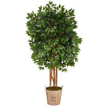 5.5 Super Deluxe Ficus Artificial Tree in Decorative Planter - SKU #T1386