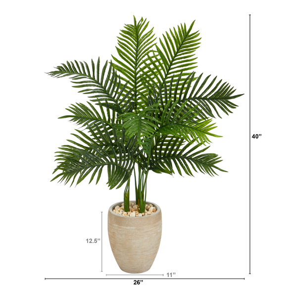 3.5 Areca Palm Artificial Tree in Sand Colored Planter Real Touch - SKU #T1387 - 1