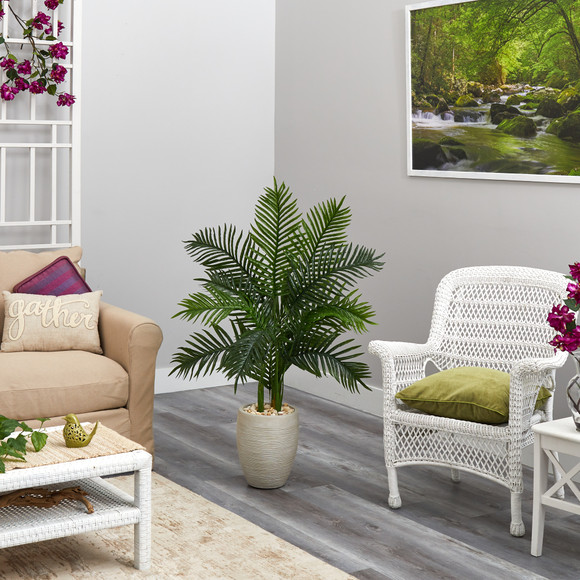 3.5 Areca Palm Artificial Tree in Sand Colored Planter Real Touch - SKU #T1387 - 3