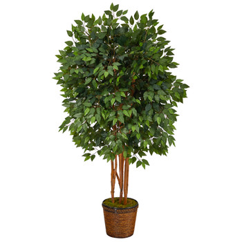 5.5 Super Deluxe Ficus Artificial Tree in Wicker Planter - SKU #T1388
