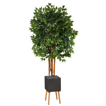6.5 Super Deluxe Ficus Artificial Tree in Black Planter with Stand - SKU #T1389