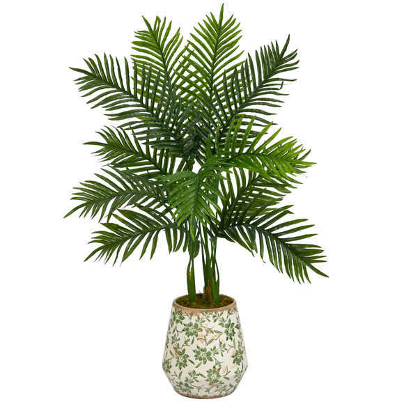 46 Areca Palm Artificial Tree in Floral Print Planter Real Touch - SKU #T1391