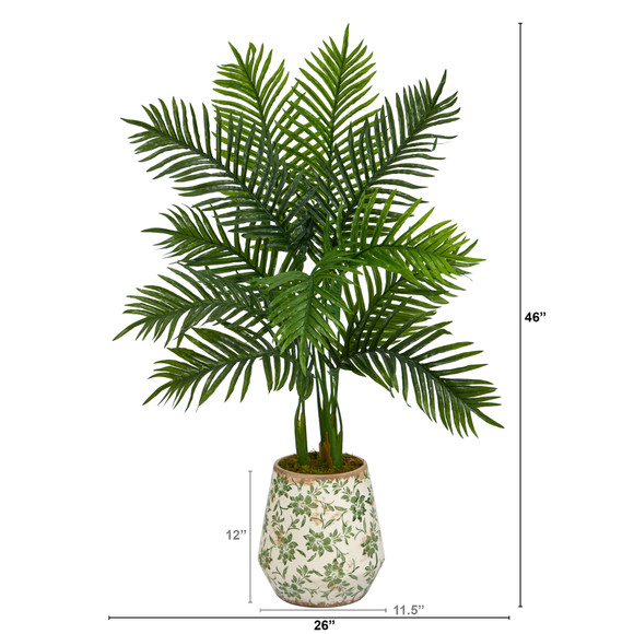 46 Areca Palm Artificial Tree in Floral Print Planter Real Touch - SKU #T1391 - 1