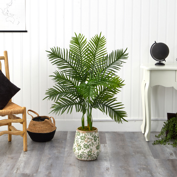 46 Areca Palm Artificial Tree in Floral Print Planter Real Touch - SKU #T1391 - 2
