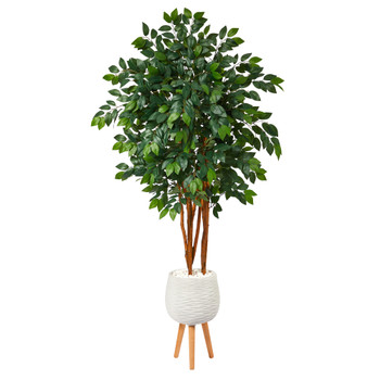 4.5 Sakaki Artificial Tree in White Planter with Stand - SKU #T1393