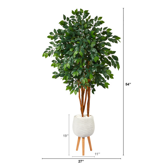 4.5 Sakaki Artificial Tree in White Planter with Stand - SKU #T1393 - 1