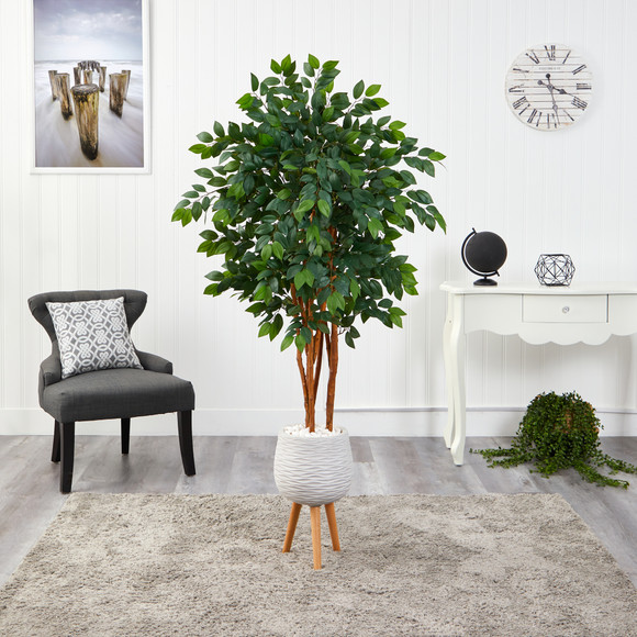 4.5 Sakaki Artificial Tree in White Planter with Stand - SKU #T1393 - 2