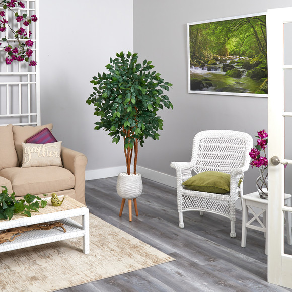 4.5 Sakaki Artificial Tree in White Planter with Stand - SKU #T1393 - 3
