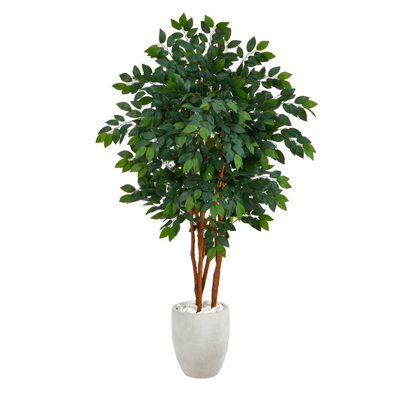 57 Sakaki Artificial Tree in White Planter - SKU #T1394