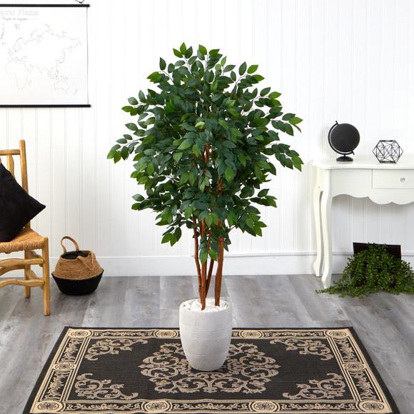 57 Sakaki Artificial Tree in White Planter - SKU #T1394 - 2
