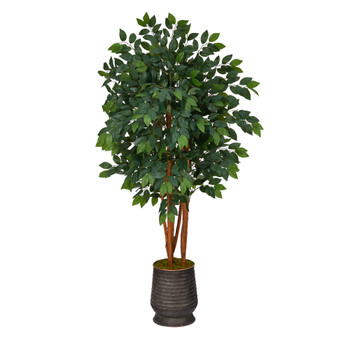 57 Sakaki Artificial Tree in Ribbed Metal Planter - SKU #T1396