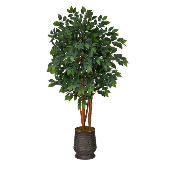 57 Sakaki Artificial Tree in Ribbed Metal Planter - SKU #T1396