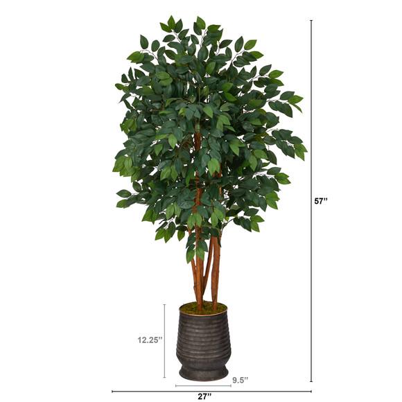 57 Sakaki Artificial Tree in Ribbed Metal Planter - SKU #T1396 - 1