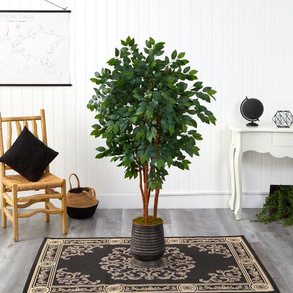 57 Sakaki Artificial Tree in Ribbed Metal Planter - SKU #T1396 - 2