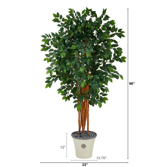 5.5 Sakaki Artificial Tree with 1470 Bendable Branches in Decorative Planter - SKU #T1398 - 1