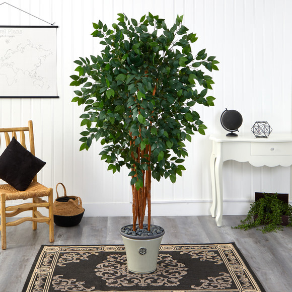 5.5 Sakaki Artificial Tree with 1470 Bendable Branches in Decorative Planter - SKU #T1398 - 2