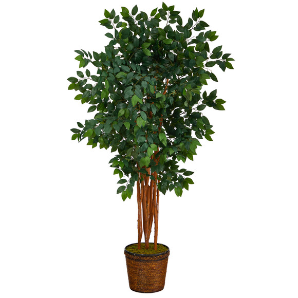 68 Sakaki Artificial Tree with 1470 Bendable Branches in Wicker Planter - SKU #T1399