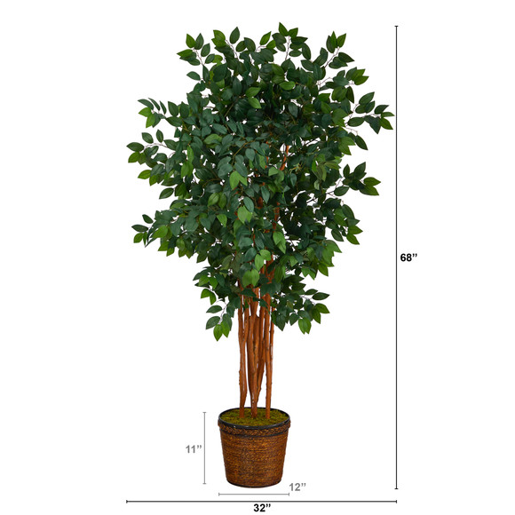 68 Sakaki Artificial Tree with 1470 Bendable Branches in Wicker Planter - SKU #T1399 - 1