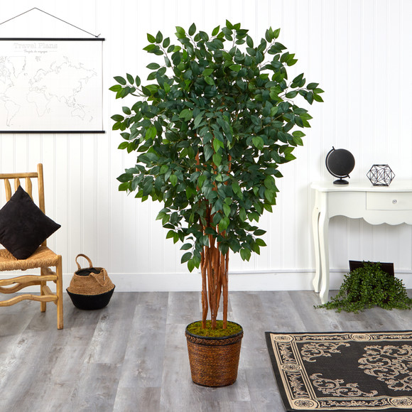 68 Sakaki Artificial Tree with 1470 Bendable Branches in Wicker Planter - SKU #T1399 - 2
