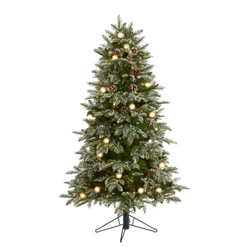 5 Flocked Whistler Mountain Fir Artificial Christmas Tree with 250 Warm White LED Lights with Instant Connect Technology 28 Globe Bulbs Pine Cones and 480 Bendable Branches - SKU #T1440