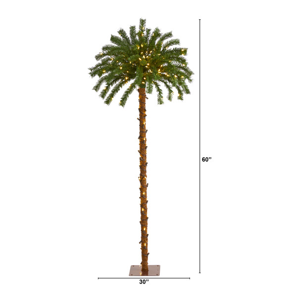 5 Christmas Palm Artificial Tree with 150 Warm White LED Lights - SKU #T1451 - 1