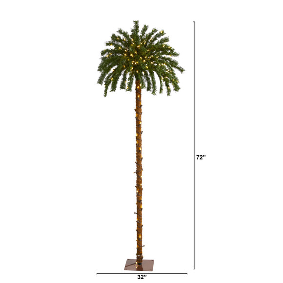 6 Christmas Palm Artificial Tree with 200 Warm White LED Lights - SKU #T1452 - 1