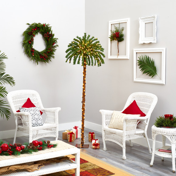 6 Christmas Palm Artificial Tree with 200 Warm White LED Lights - SKU #T1452 - 4