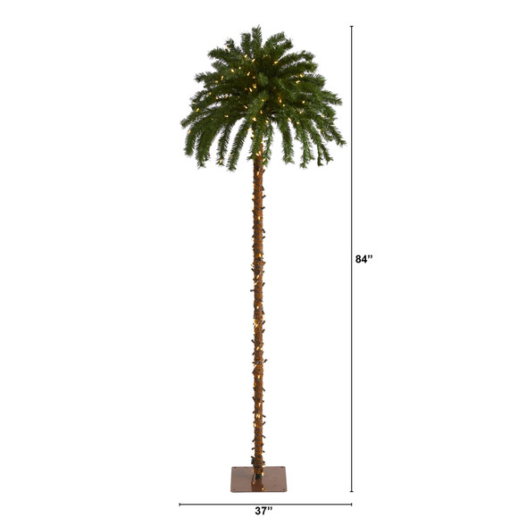 7 Christmas Palm Artificial Tree with 300 White Warm LED Lights - SKU #T1453 - 1