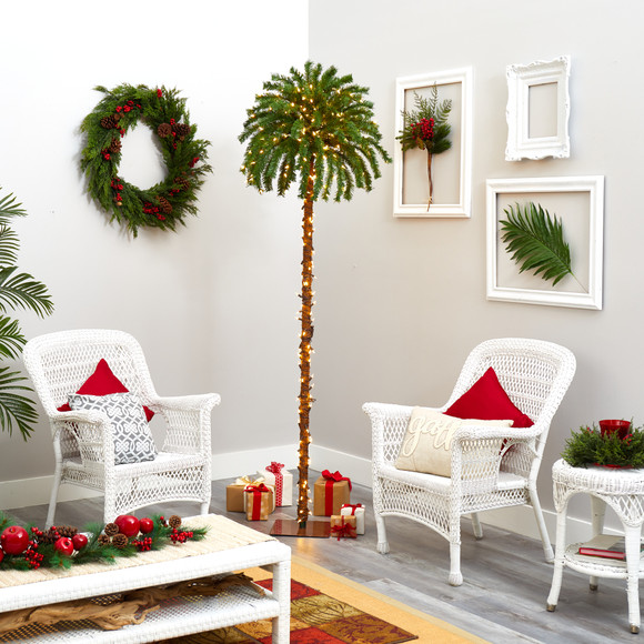 7 Christmas Palm Artificial Tree with 300 White Warm LED Lights - SKU #T1453 - 4
