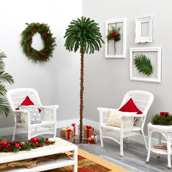7 Christmas Palm Artificial Tree with 300 White Warm LED Lights - SKU #T1453 - 5