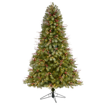 6.5 Lightly Frosted Big Sky Spruce Artificial Christmas Tree with 450 Clear Multifunction LED Lights with Instant Connect Technology Berries Pine Cones and 904 Bendable Branches - SKU #T1468