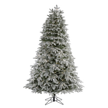 7 Flocked Colorado Mountain Fir Artificial Christmas Tree with 700 Warm White Microdot Multifunction LED Lights with Instant Connect Technology and 1455 Bendable Branches - SKU #T1480