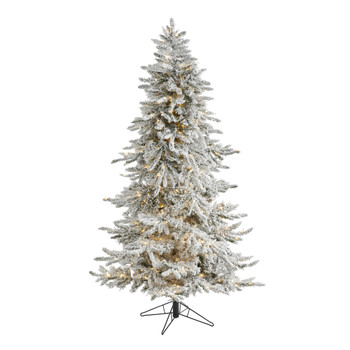 6.5 Flocked Grand Northern Rocky Fir Artificial Christmas Tree with 1150 Warm Micro Multifunction with Remote Control LED Lights Instant Connect Technology and 820 Bendable Branches - SKU #T1494