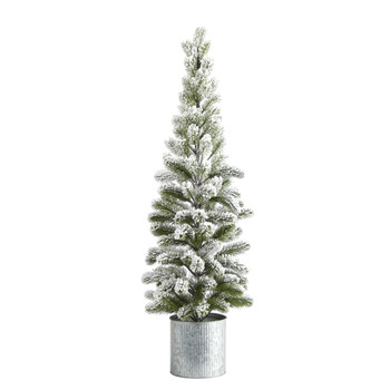 3 Flocked Christmas Artificial Pine Tree in Tin Planter - SKU #T1501