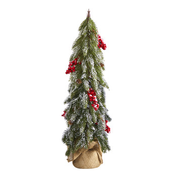 24 Flocked Christmas Artificial Tree with Berries and Pine Cones - SKU #T1503