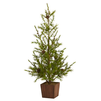 28 Alpine Natural Look Artificial Christmas Tree in Wood Planter with Pine Cones - SKU #T1505