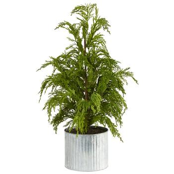 20 Cedar Pine Natural Look Artificial Tree in Decorative Planter - SKU #T1506
