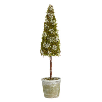 2 Flocked Moss Artificial Cone Tree in Decorative Planter - SKU #T1507
