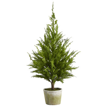 3.5 Cedar Pine Natural Look Artificial Tree in Decorative Planter - SKU #T1512